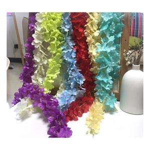 24 Renkler Zarif Yapay Çiçek Wisteria Çiçek Vine 34 CM Ev Bahçe Duvar Asılı DIY Rattan Otel XM Jlihx MX_HOME için