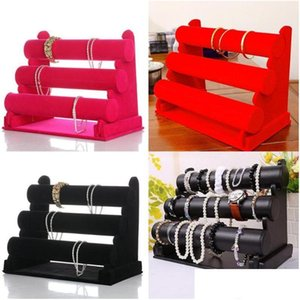 Black Velvet 3-Tier Jewelry Bracelet Watch Bangle Display Holder Stand Showcase T-Bar Storage Necklace Bangle Organizer Rjptc