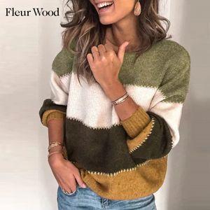 Fleur Wood Woman Sweaters Pullotes de punto Otoño Invierno O-cuello suéter Rayas Casual Ropa 2020 Ropa Mujer