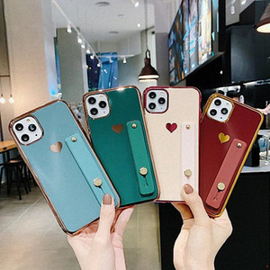 Electroplating Love Heart Holder Phone Case For iPhone 12 11 Pro Max XR XS Max 8 7 6 Plus Shockproof Soft TPU Cover