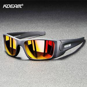 Rechteckige polarisierten Sonnenbrillen für Männer KDEAM Marke Laufen Klettern Sports Sun-Gläser Echt vergütete Linsen TR90 Rahmen Gsfas GR4