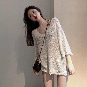 Kore Ulzzang Missoov Tasarımcı Stil Sonbahar Moda Marka V yaka İnce Kazaklar Gevşek Örme Kadın Triko Hollow Out New 2yG8 #