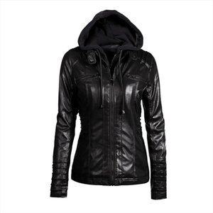 Autumn Women Leather Jacket Hoodie Casual Windproof Long Jacket Ladies Motorcycle Biker PU Coat New Fashion Zipper Coat FM023