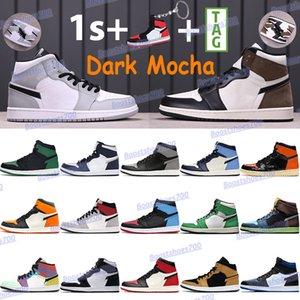 Tênis de basquete masculino Jumpman 1 1s Bred Royal Black Chicago Toe Court Roxo Branco Luz Média Cinza Cinza Pálido Marfim Chaussures Trainers
