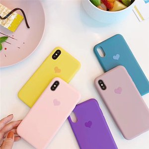 Couples Love Heart Candy Color Soft silicone Matte Phone Case For iphone 12 11 Pro Max X XS Max XR 7 8 6S Plus Fashion Solid Back Cover DHL