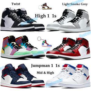 Hot 1 1s Scarpe Jumpman Basketba con Keychain Light Grigio fumo Mid Chicago Toe raso serpente Uomini Donne scarpe da tennis bianche Red Royal Sneakers