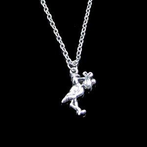 Moda 23 * 18mm cigüeña baby baby colgante collar collar cadena de enlace para el collar de gargantilla femenina Joyería creativa Regalo de fiesta