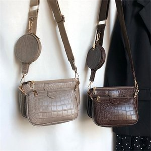 Vintage Crocodile women shoulder luxury designer wide strap Crossbody chain Sling pu leather ladies 3 bag set wallet Q1104