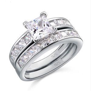 Dimensione di lusso 5/6/07/8/9/10 gioielli 10kt oro bianco oro topaz principessa taglio diamante simulato anello nuziale set regalo con scatola 43 n2