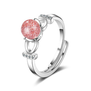 Trendy Pink Strawberry Quartz Crystal 925 Sterling Silver Lady Finger Rings Original Jewelry For Women Gift No Fade Ring