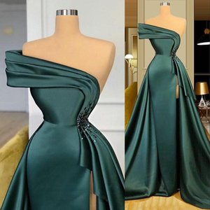 2021 New Long Dark Green Satin Evening Dresses Wear Elegant Ruched Crystal Beads Split One Shoulder Evening Gowns Formal Women Prom Dresses