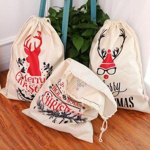 Santa Sacks 5 Styels 캔버스 코튼 가방 대형 유기농 무거운 Drawstring 선물 가방 맞춤식 축제 파티 크리스마스 장식 DHC2808
