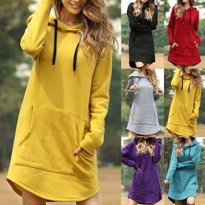 Puimentiua Vintage Women Winter Dress Hooded Long Sleeve Loose Casual 3XL Plus Size Dress Retro Ladies Pocket Tube Midi Dresses
