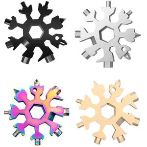 18 in 1 Snowflake 멀티 포켓 도구 키링 키 링 팔각형 렌치 다기능 다용도 도구 카드 캠프 살아남은 야외 하이킹