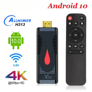 X96 S400 Android 10.0 Caixa de TV inteligente 4K Allwinner H313 Quad Núcleo 2.4G RTL8189 Wi-Fi Set Top Box Media Player LPDDR 32bit TV Stick
