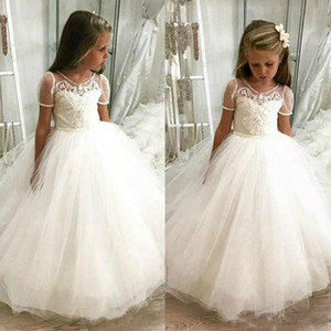 Cute Vintage Flower Girl Dresses White Satin Pink Puffy Toddler Ball Gown Communion Girl Frock Design Abiti Da Comunione