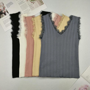Slim Vest Women Knitting Solid Camis Tops Sleeveless Tee shirts Girls Solid Tops Knitwear Patch Lace V neck