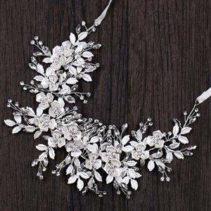 Color plateado Metal Diadema de metal para mujeres Flor hoja Rhinestone Hairband Tiaras y coronas Novia Boda Accesorios para el cabello Forseven