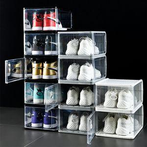 Espesado Caja de zapatos de plástico transparente Caja de almacenamiento de zapatos a prueba de polvo Caja de deporte transparente Cajas de zapatillas de deporte apilable Bota Organizador de botas Negro Gris blanco