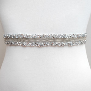Women Crystal Wedding Dresses Belts Satin Rhinestone Bridal Ribbon Sash Belt for Women Fashion Belts Wedding Accessories