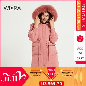 Wixra Womens Winter Coat New Fashion Fox Fur Collar Duck Down Solid Warm Jackets Ladies Streetwear Casual Thick Long Parkas 201110
