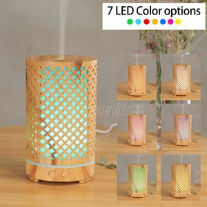 200ML Ultrasonic Air Humidifier Hollow-out aromatherapy Machine USB Wood Grain Aroma Essential Oil Diffuser with 7Colors LED Light