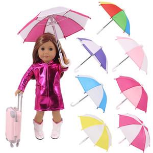2020 Nuevo engranaje de lluvia paraguas de dibujos animados para 18 pulgadas American Baby Doll Life Journey Muñecas Accesorio para niños Regalo de cumpleaños