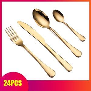 Spklifey Cutelaria de ouro 24 pcs Conjunto de louças Gold Cutlery Set Gold Colher Forks Facas Colheres de Aço Inoxidável Talheres de Aço Inoxidável Louça de Talheres 201113