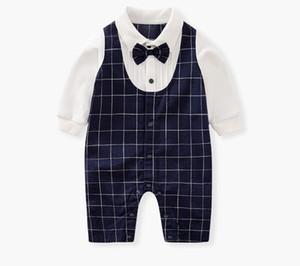 Newborn Baby Kids Formal Dress Suit Bow Tie Gentleman Jumpsuit waistcoat Romper Brithday Toddler Kids Tuxedos Bowtie Shirt Outfits