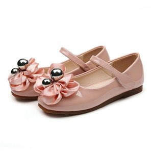 New spring autumn flowers girls single shoes sweet bow pearl princess leather shoes round head low heel children's festival shoe1