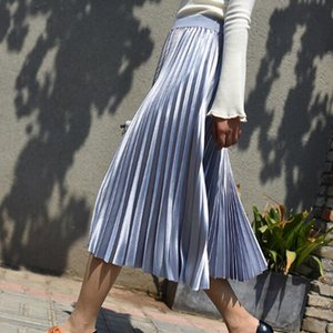 Tataria mit hohen Taille Silk Rock für Frauen-Steigung-Farben-mittlerer Kalb-Rock-Qualitäts-Faltenröcke A Line Female fz2734