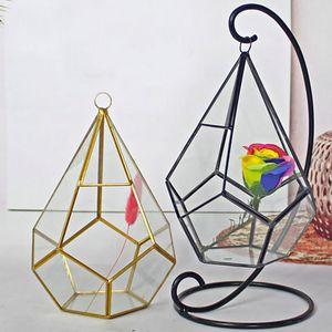 16 * 23 centímetros New miniatura vidro Terrário geométrico do diamante do desktop Jardim plantador de Efeito Estufa interior suculentas plantas Home Decor WX9 -678