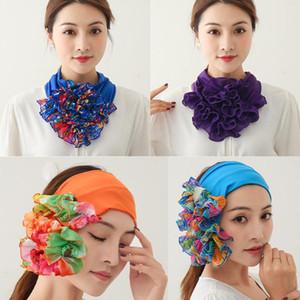 Floreale del collo anello sciarpa chiffon collare del legame hijab musulmano delle donne Cappello Turbante Solid Lady Ufficio Neckerchief Magro Capelli Sciarpe