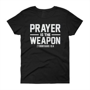 Prayer is the weapon corinthians t shirt fate christian christianity jesus women fashion unisex grunge tumblr cotton casual tees