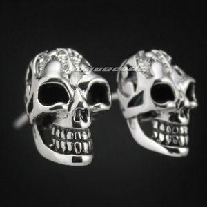 925 Sterling Silver Smille Skull Mens Biker Rocker Stud Earring 8M005