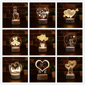 Hot 3D LED Night Lights Novelty 3D Illusion Table Lamp Creative 3D Valentine's Day USB nightlight For Home Decorative