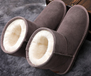 Warm leather snow boots women's hot sale winter couple plus size northeast plus cashmere cotton shoes for men and women high tube snow shoes