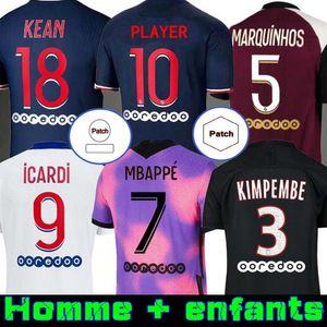 Maillots de Fútbol PSG 20 21 Soccer Jersey 2020 Mbappe Icardi Shirt Hombres Niños Maillot De Foot Hommes Enfants Kimpembe Di Maria Kean Marquinhos
