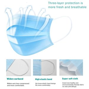 Disposable blue melt blown cloth protective mask non-woven mask dust mask 3 layer protection factory wholesale spot free shipping