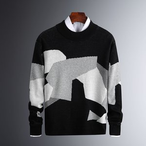 2020 Winter New Men's Fashion Sweaters Long Sleeve Knitted Sweater Men High Quality Autumn Patchwork Pullover