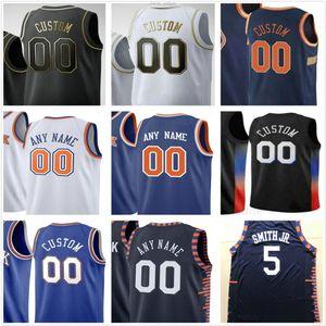 Пользовательские напечатанные 1 Оби Toppin RJ 9 Barrett Kevin 20 Knox Julius 30 Randle Frank 11 Ntilikina New York Knicks Мужчины Женщина Детские баскетбольные майки