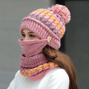 Kış Şapka Eşarp Seti Kalın Kadınlar Kış Aksesuar Fleece İçinde Örgü Şapka Eşarp Seti 3adet Kış Binicilik Şapka Isınma Maske