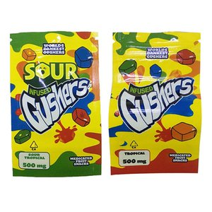 Sour Gushers Exotic Mylar Bag Infused Smell Proof Dustproof 500mg Medibles Edibles Zipper Pouch For Tobacco Dry Herb Flower Retail EWC3178