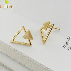 Форзац Геометрическая Hollow Triangle 18K золота серьги стержня для женщин реального 925 стерлингового серебра серьги ювелирных изделий способа Fine Simple