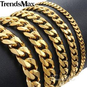 Trendsmax Polished Men's Bracelet Stainless Steel Bracelet for Men Gold Black Silver color Cuban Link Chain 3 5 7 9 11mm KKBM158