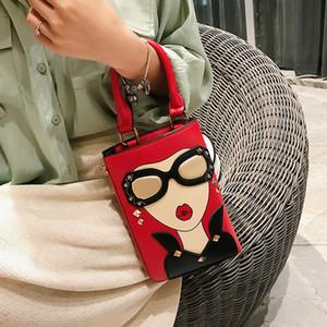 2021 Fashion Women Personality Handbag New Wild Shoulder Messenger Bags Glasses Girl Rivet Crossbody Trend Tote Cartoon Hot Sale Wholesale