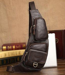 High quality New Men Real Leather Cowhide Travel Cross Body Shoulder Messenger Sling Chest Pack Bag Fashion male bag shoulder