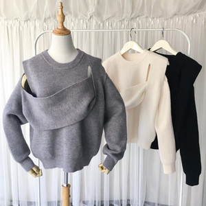 Irregular Off Shoulder Sweater Stitching Hollow Out Loose Round Collar Knitted Pullover Women 2020 Winter New Design Clothing1