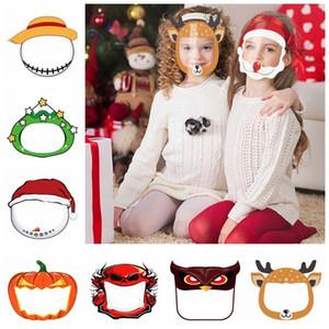 Los niños careta de Halloween máscara transparente PET transparente reutilizable anti salpicaduras de Navidad Año Nuevo dibujos animados máscara protectora del DDA625-2