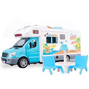 01:32 Pull Mental Voltar Car Camper Motorhome veículo de lazer com música ligeira que pode abrir portas Toldo liga Brinquedos Caminhões